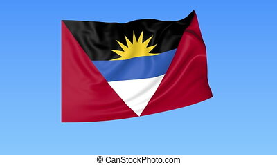 Waving flag of Antigua and Barbuda, seamless loop. Exact...