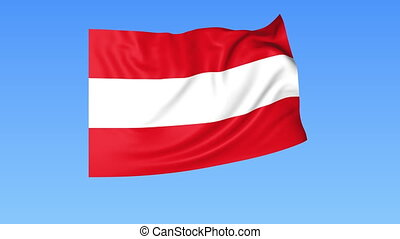 Waving flag of Austria, seamless loop. Exact size, blue...