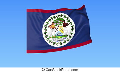 Waving flag of Belize, seamless loop. Exact size, blue...