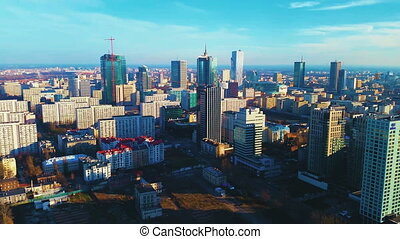 View On City Buildings - WARSAW, POLAND - 23 JUNE 2016: View...