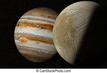 Jupiter and moon - moon europa flying over the surface of...