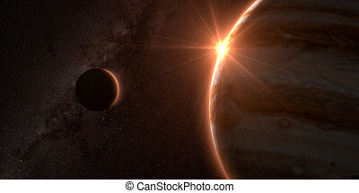 jupiter and moon Europa with beautiful sunset. Check my...