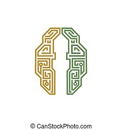 Minaret logo - Islamic logo, mind and minaret silhouette.