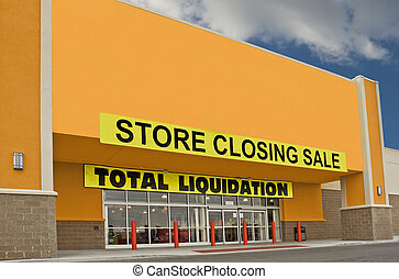 Going Out Of Business Sale - A yellow storefront with Going...