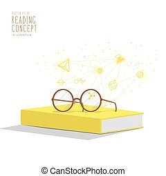 Yellow book with glasses resting on top. Background is icons refers to knowledge and learning vector.