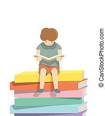 Boy reading a book on a pile of books  White background, illustration vector. (Blank book)
