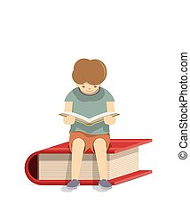 Boy reading a book on a red book White background,...