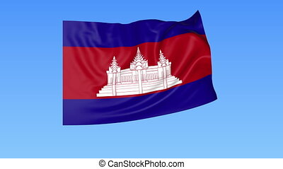 Waving flag of Cambodia, seamless loop. Exact size, blue...