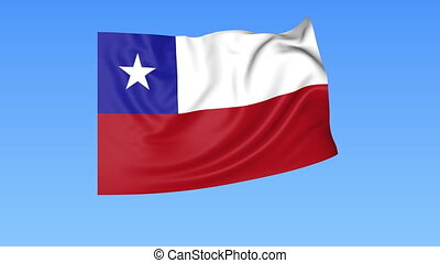 Waving flag of Chile, seamless loop. Exact size, blue...