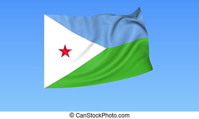 Waving flag of Djibouti, seamless loop. Exact size, blue background. Part of all countries set. 4K ProRes with alpha.
