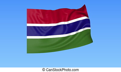 Waving flag of Gambia, seamless loop. Exact size, blue background. Part of all countries set. 4K ProRes with alpha.