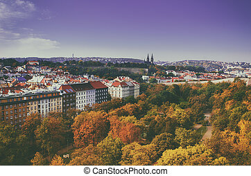 View to the Vysegrad in Prague, Czech Republic at autumn...