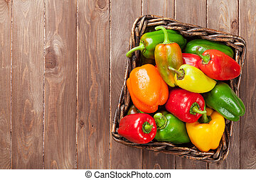 Fresh colorful bell peppers in box - Fresh colorful bell...