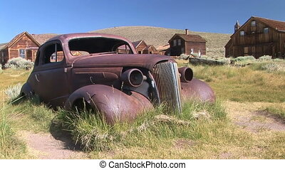 Antique Rusted Hot Rod - Weathered car in the ghost town of...