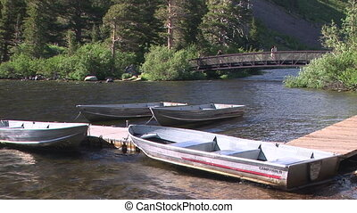 Boats and Bridge - Rowboats, pier and bridge along Twin...
