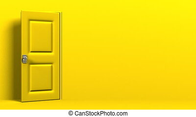 Yellow Door With Text Space And Dark Room Abstract 3DCG...