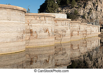 Bear Valley Dam multiple arch type on Bear Lake, CA. -...