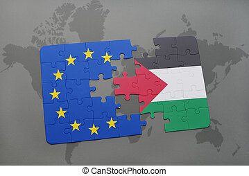 puzzle with the national flag of palestine and european...