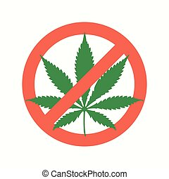 cannabis marijuana flat prohibited icon - vector red green...