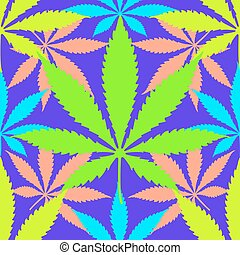 cannabis marijuana leaves seamless pattern - vector various...