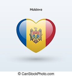 Love Moldova symbol. Heart flag icon. Vector illustration.