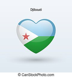 Love Djibouti symbol Heart flag icon Vector illustration