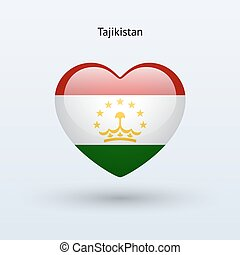 Love Tajikistan symbol Heart flag icon Vector illustration...