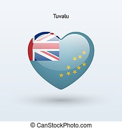 Love Tuvalu symbol. Heart flag icon. Vector illustration.