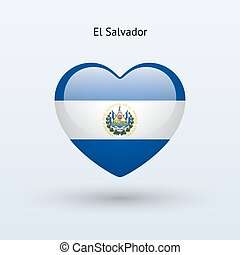 Love El Salvador symbol Heart flag icon Vector illustration...