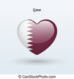 Love Qatar symbol Heart flag icon Vector illustration