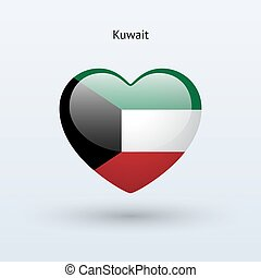 Love Kuwait symbol. Heart flag icon. Vector illustration.