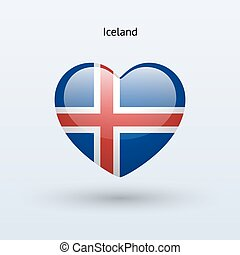 Love Iceland symbol Heart flag icon Vector illustration