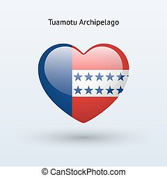 Love Tuamotu Archipelago symbol. Heart flag icon. Vector...