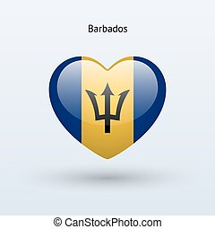 Love Barbados symbol Heart flag icon Vector illustration