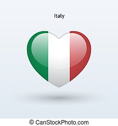 Love Italy symbol. Heart flag icon.