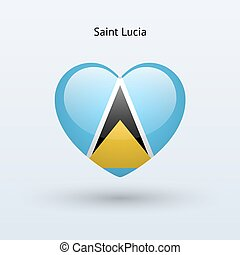 Love Saint Lucia symbol Heart flag icon Vector illustration...