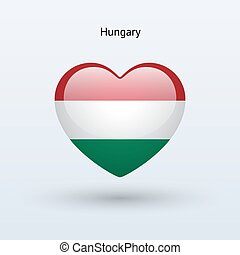 Love Hungary symbol Heart flag icon Vector illustration