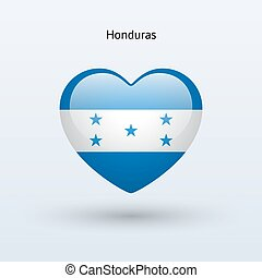 Love Honduras symbol Heart flag icon Vector illustration