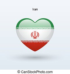 Love Iran symbol. Heart flag icon. Vector illustration.