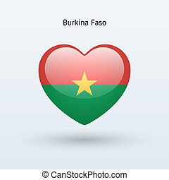 Love Burkina Faso symbol Heart flag icon Vector illustration...