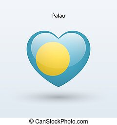 Love Palau symbol. Heart flag icon. Vector illustration.