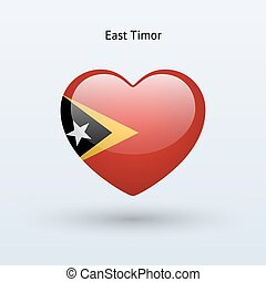 Love East Timor symbol Heart flag icon Vector illustration...