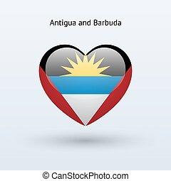 Love Antigua and Barbuda symbol Heart flag icon Vector...