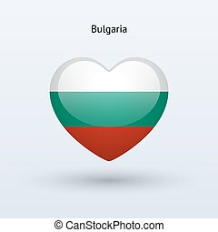 Love Bulgaria symbol Heart flag icon Vector illustration