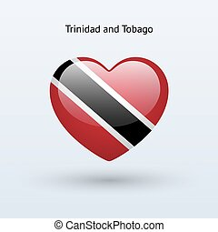 Love Trinidad and Tobago symbol Heart flag icon Vector...