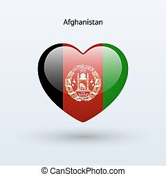 Love Afghanistan symbol Heart flag icon Vector illustration...