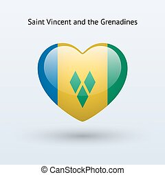 Love Saint Vincent and the Grenadines symbol. Heart flag...