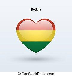 Love Bolivia symbol Heart flag icon Vector illustration
