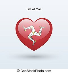 Love Isle of Man symbol Heart flag icon Vector illustration...