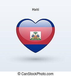 Love Haiti symbol Heart flag icon Vector illustration